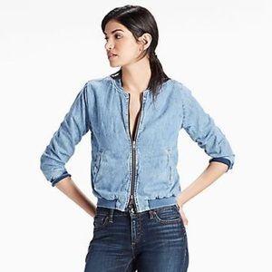 Lucky Brand bomber style denim jacket
